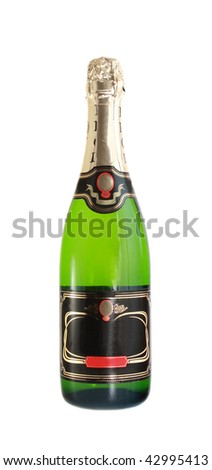 Bottle champagne, on a white background, it is isolated.