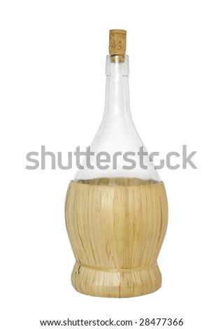 bottle in basket on white background