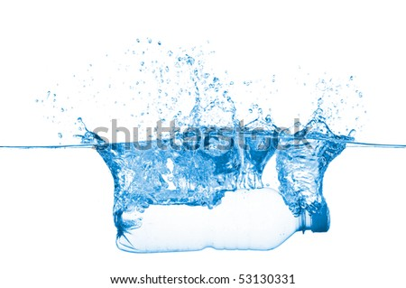 Bottle in water isolated on white background