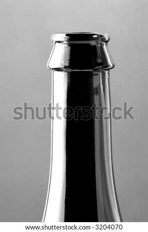 bottle neck of sparkling red wine