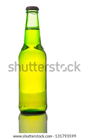 Bottle of beer isolated on a white background.