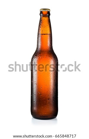 Bottle of beer with drops isolated on white background and with clipping path #665848717