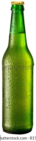 Bottle of beer with drops on white background. The file contains a path to cut.