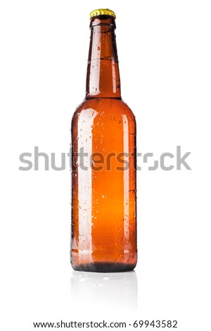 Bottle of beer with drops on white background with shadow