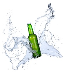 Bottle of beer with water splash, isolated on white background