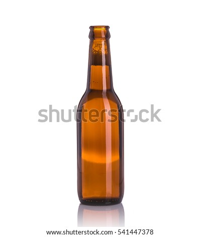 Bottle of beer without cap. Studio shot isolated on white background #541447378