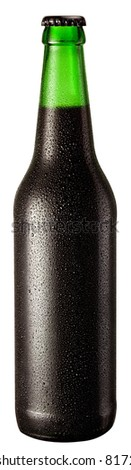 Bottle of black beer with drops on white background. The file contains a path to cut.