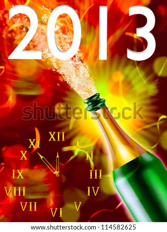 Bottle of champagne and clock on a colorful background