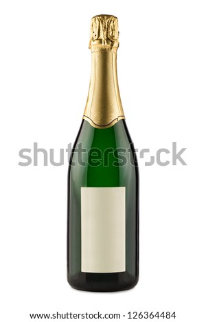 bottle of champagne in front of white background