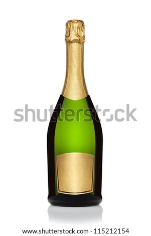 Bottle of champagne, isolated on the white background, clipping path included.