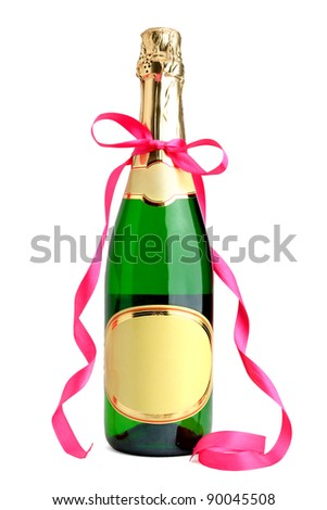 Bottle of champagne with ribbon isolated on white background