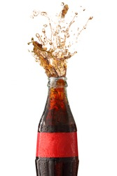 Bottle of cola soda isolated on a white background.