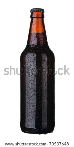 Bottle of dark beer from brown glass, isolated on a white background.