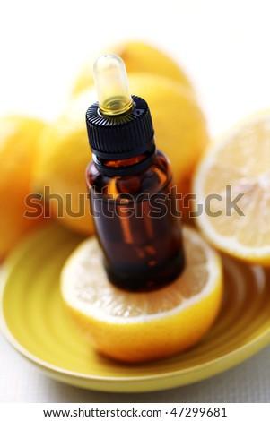 bottle of essential oil from lemon - alternative medicine