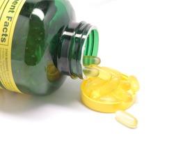 Bottle of fish oil pills