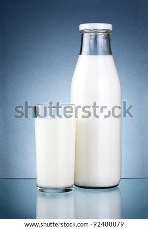 Bottle of fresh milk and a glass isolated on a dark grey background