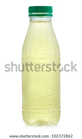 bottle of green ice tea on white background