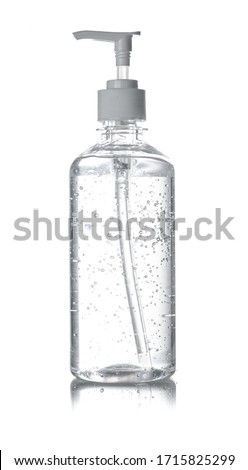 Bottle of hand sanitizer, antimicrobial liquid gel isolated on white background Stok fotoğraf ©