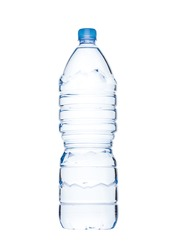 Bottle of healthy still mineral water on white background. Large two liter bottle