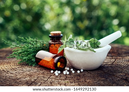 Bottle of homeopathic globules, mortar of green nettle and mint leaves, juniper twigs. Homeopathy medicine remedies. Selective focus, toned image. Stock photo ©