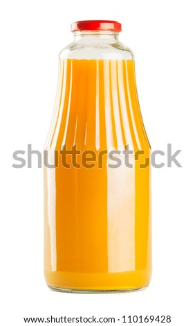 Bottle of juice on white background