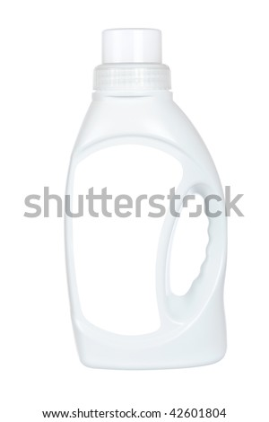 Bottle of laundry detergent or fabric softener isolated on white background. Blank label path included