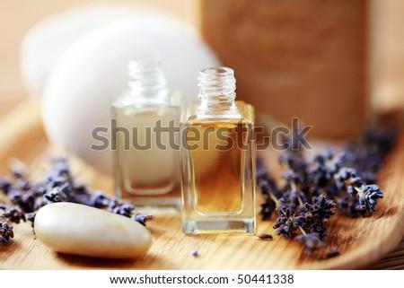 bottle of lavender aromatherapy oil - beauty treatment