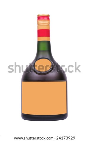 bottle of liquor with blank label isolated on white