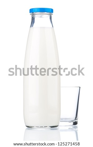 Bottle of milk and glass isolated on white background