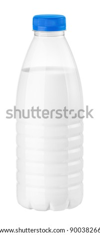 bottle of milk or kefir on a white background