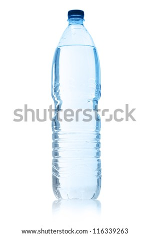 bottle of mineral water, on white background