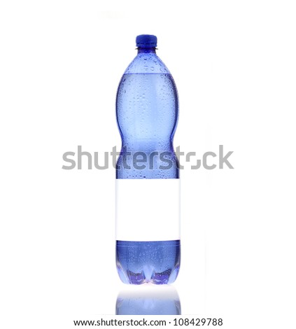 bottle of mineral water, white label, isolated