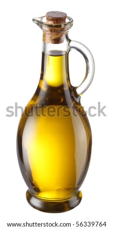 Bottle of olive oil isolated on a white background