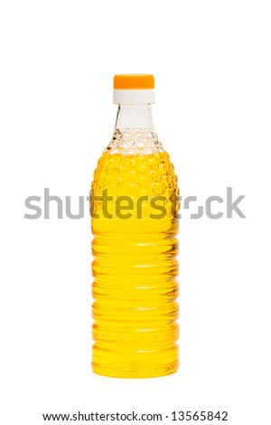 Bottle of olive oil isolated on the whie