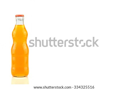 bottle of  Orange Fanta (coca cola) glass soda isolated on a white background #334325516