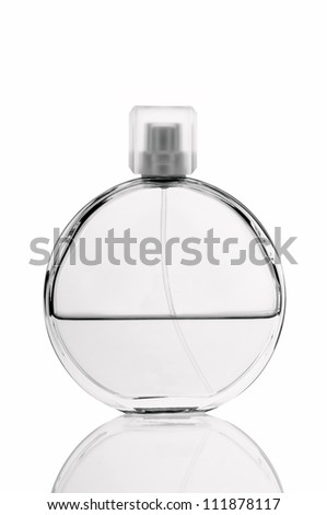 Bottle of perfume on white background.Black and white photo