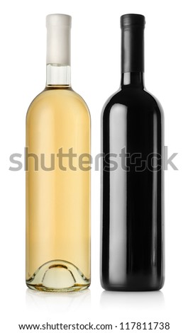 Bottle of red wine and white wine isolated on a white background