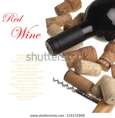 Bottle of red wine, corks and  corkscrew