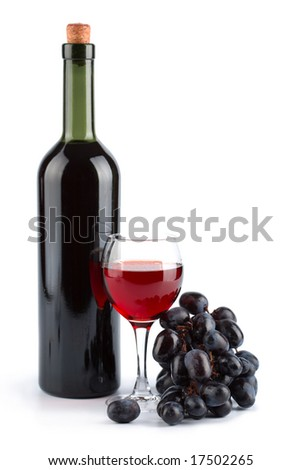 bottle of red wine, glass and grapes isolated