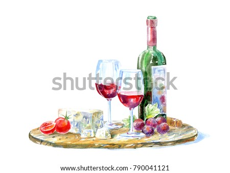 Bottle of red wine, glasses,cheese,cherry tomato and grapes on a wooden board.Picture of a alcoholic drink.Beverage and snack.Watercolor hand drawn illustration.White background.