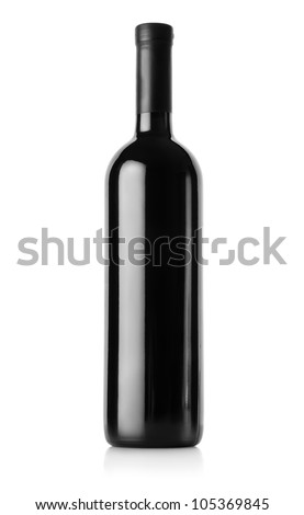 Bottle of red wine isolated on a white background. Clipping Path #105369845