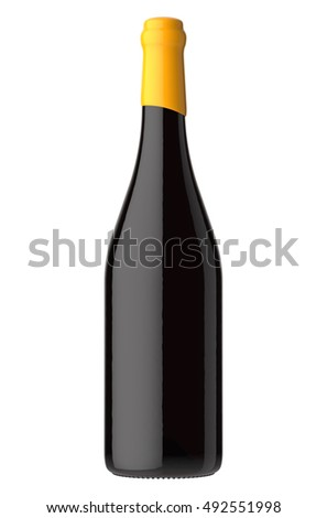 Bottle of red wine. Isolated on white background Foto d'archivio ©