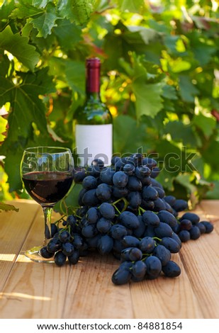 Bottle of red wine on wooden table near vineyard