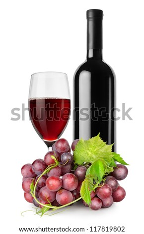 Bottle of red wine, wineglass and grapes isolated on a white background