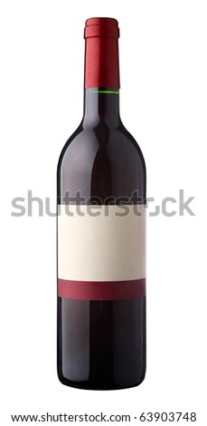 Bottle of red wine with blank label