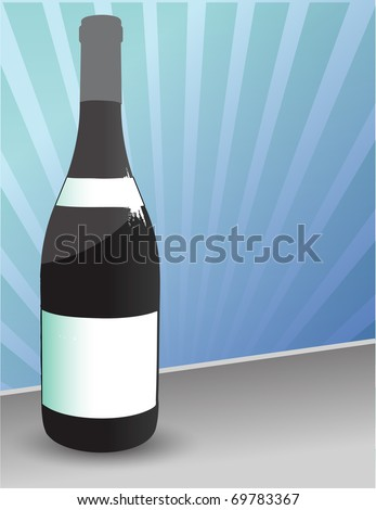 Bottle of red wine with blank labels