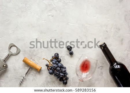 bottle of red wine with glass on texture background top view mock-up #589283156