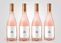 Bottle of rose wine with white background. Mock up for labels.