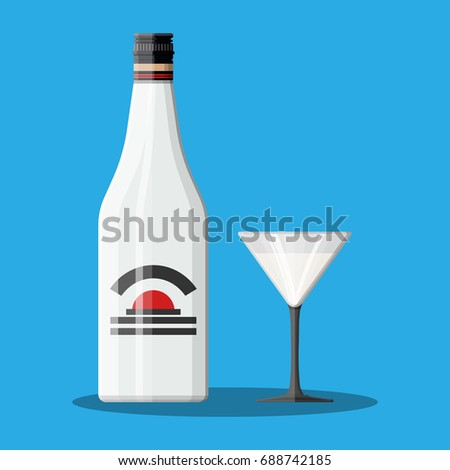 Bottle of rum with coconut and glass. Rum alcohol drink. illustration in flat style