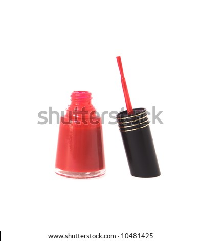 Bottle of sexy red nail polish open ,isolated